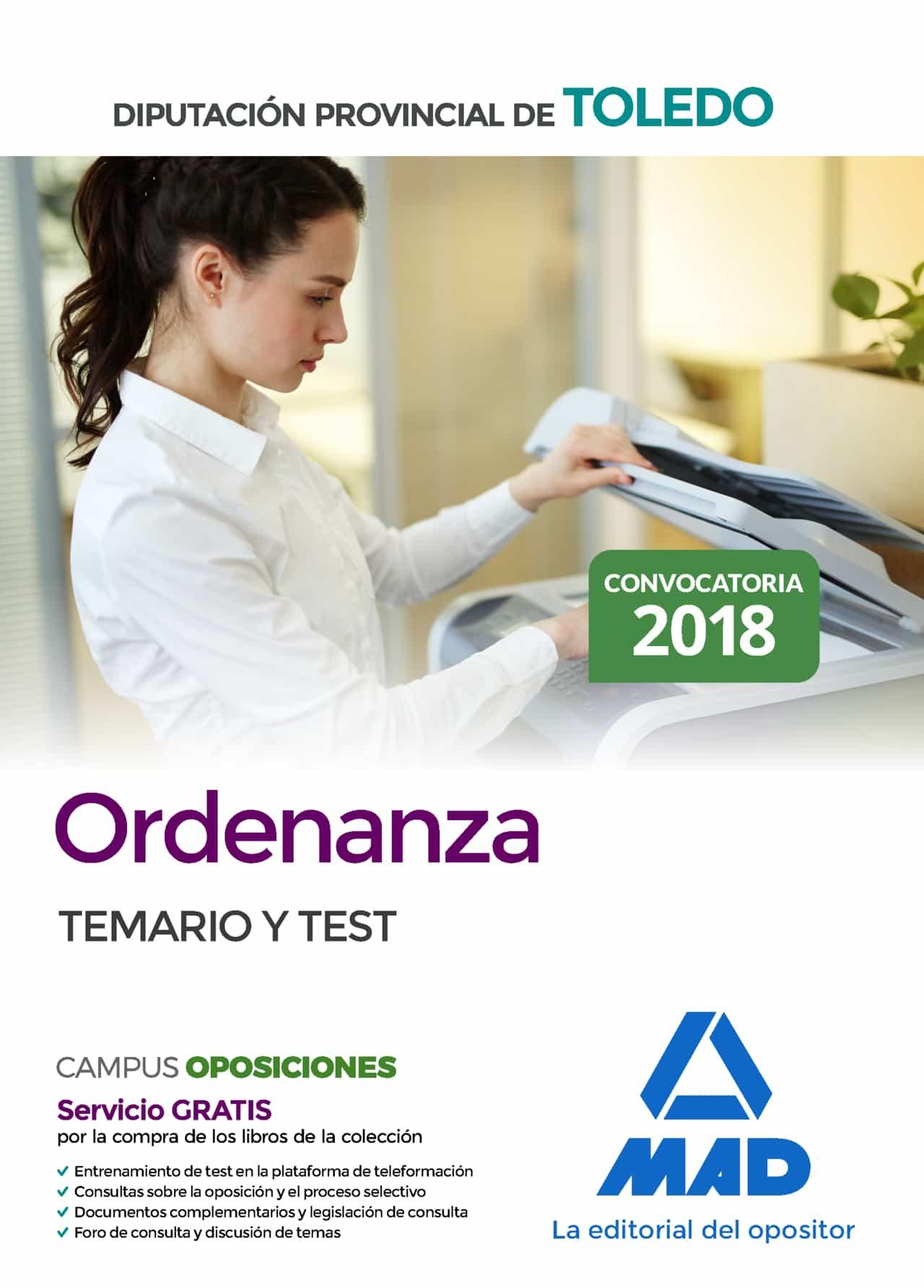 Ordenanza De La Diputacion Provincial De Toledo: Temario Y Test por Vv.aa.