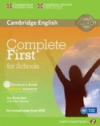 complete first for schools for spanish speakers student s book wi thout answers with cd rom 9788483239933