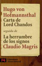 carta de lord chandos; la herrumbre de los signos claudio magris hugo von hofmannsthal 9788420662183