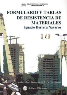 formulario y tablas de resistencia de materiales-igancio herrrera navarro-9788492970513