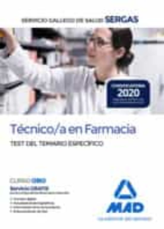 TÉCNICO/A EN FARMACIA DEL SERVICIO GALLEGO DE SALUD. TES5492L TEMARIO ESPECÍFICO